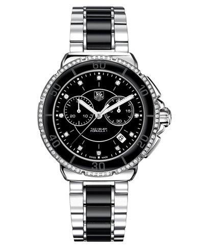 TAG Heuer Women's Chronograph Diamond (1/2 ct. t.w.) Black Ceramic and Stainless Steel Bracelet Watch 41mm CH1212.BA0862