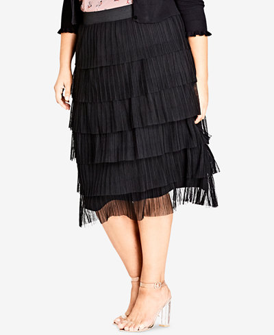City Chic Trendy Plus Size Tiered Skirt