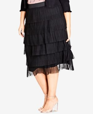 TRENDY PLUS SIZE TIERED SKIRT