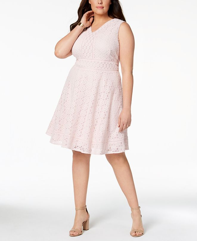 Charter Club Plus Size Lace Fit & Flare Dress, Created for Macy's