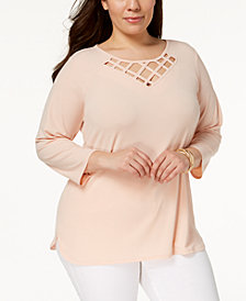 JM Collection Plus Size Lattice-Yoke Top, Created for Macy's