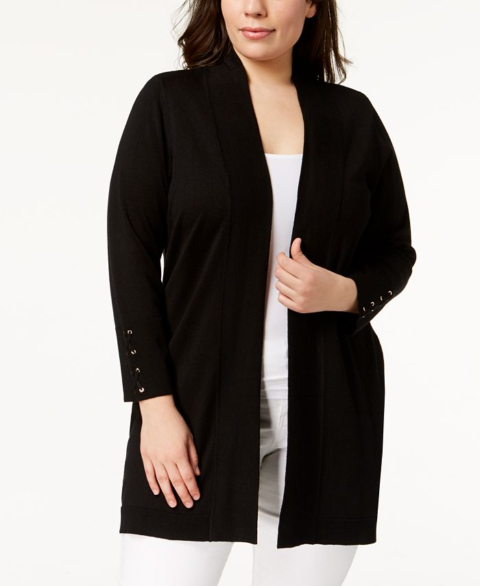 JM Collection - Plus Size Lace-Up-Cuff Duster Cardigan