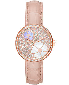 Michael Kors Women's Courtney Pink Leather Strap Watch 36mm