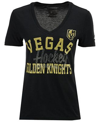 adidas Women's Vegas Golden Knights Studded Ultimate V-Neck T-Shirt