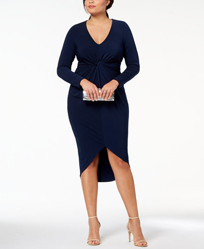 Soprano Trendy Plus Size Twist-Front Bodycon Dress