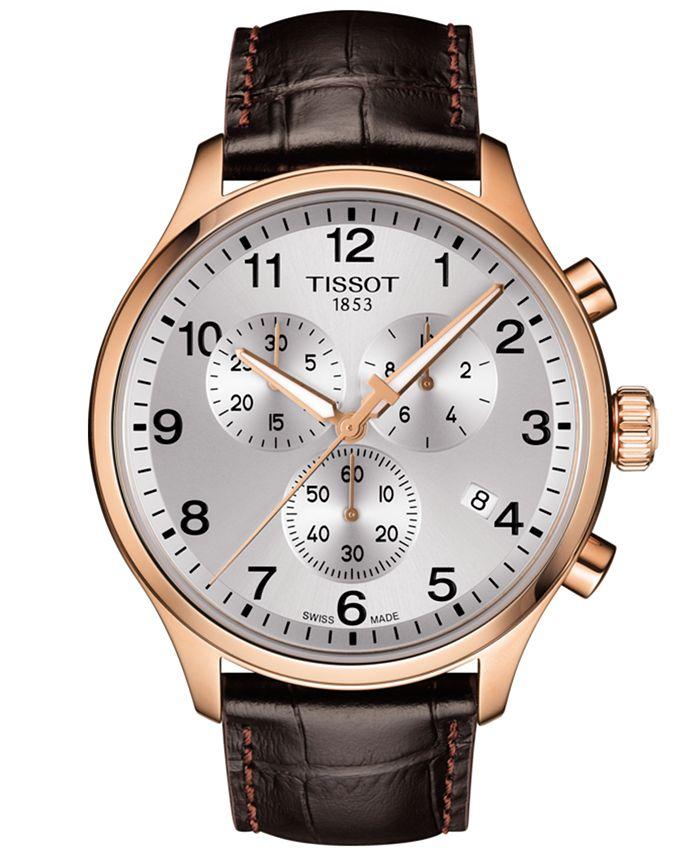 Tissot - Men's Swiss Chronograph Chrono XL Classic T-Sport Brown Leather Strap Watch 45mm