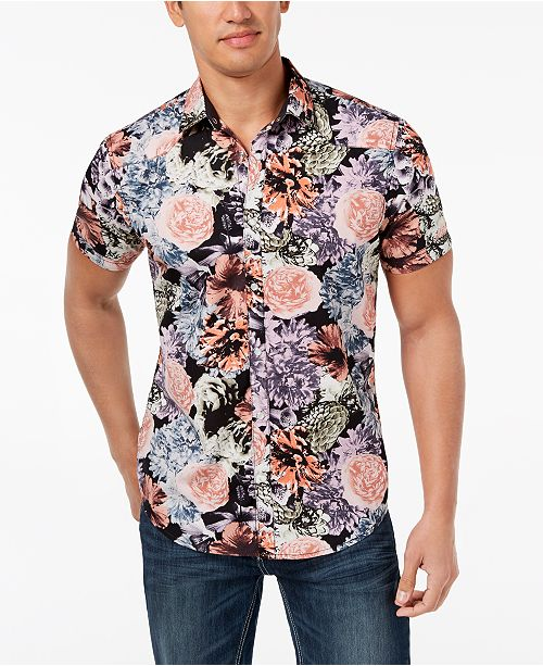 INC International Concepts I.N.C. Men's Snap-Front Floral Shirt, Created for Macy's
