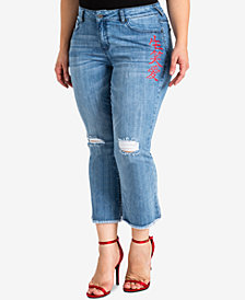 standards and practices Trendy Plus Size Printed Kick-Flare Jeans