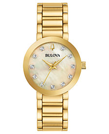 Bulova Women's Modern Diamond-Accent Gold-Tone Stainless Steel Bracelet Watch 30mm, Created for Macy's