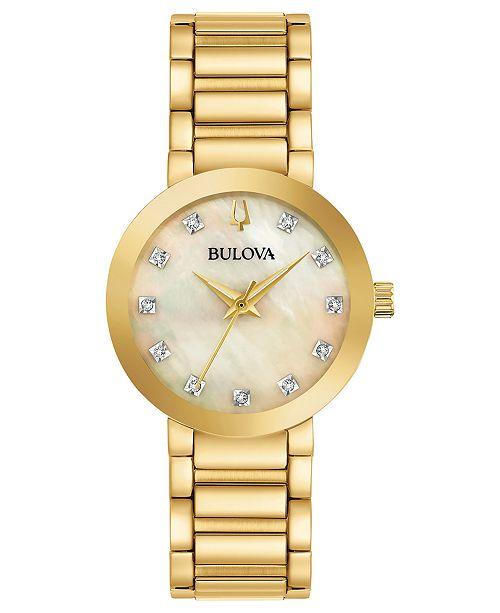 Bulova Women's Futuro Diamond-Accent Gold-Tone Stainless Steel Bracelet Watch 30mm