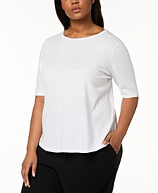 SYSTEM Plus Size Organic Cotton Elbow-Sleeve T-Shirt