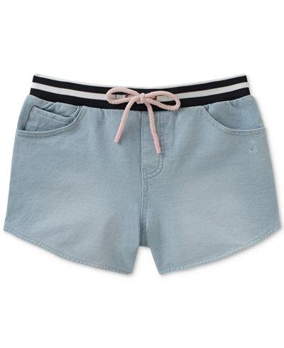 Calvin Klein Denim-Look Knit Shorts, Big Girls