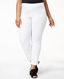 Plus Size Washable Crepe Slim-Leg Ankle Pants