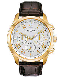 Bulova Men's Chronograph Wilton Brown Leather Strap Watch 46.5mm