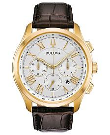 Bulova Men's Chronograph Wilton Brown Leather Strap Watch 46.5mm