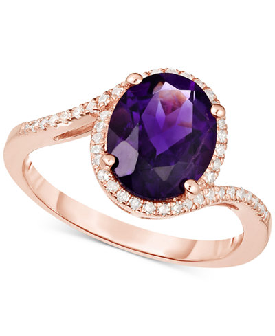 Amethyst (2-1/4 ct. t.w.) & Diamond (1/6 ct. t.w.) Ring in 14k Rose Gold