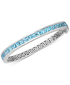 Blue Topaz Bangle Bracelet (9 ct. t.w.) in Sterling Silver