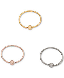 I.N.C. Tri-Tone Stainless Steel 3-Pc. Set Nose Rings, Created for Macy's
