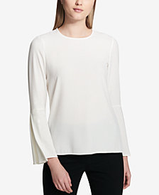 Calvin Klein Pleated Bell-Sleeve Top