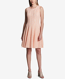 Calvin Klein Perforated Sleeveless Fit & Flare Dress