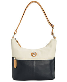 Giani Bernini Nappa Leather Bucket Colorblock Hobo, Created for Macy's