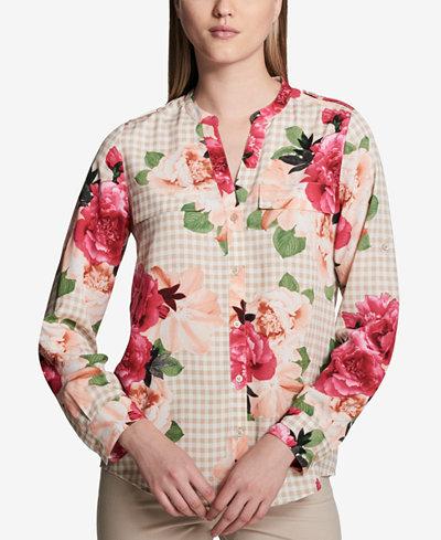 Calvin Klein Printed Split-Neck Button-Up Blouse