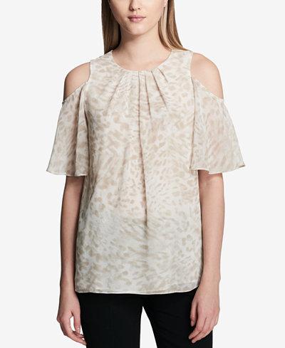 Calvin Klein Floral-Print Cold-Shoulder Top
