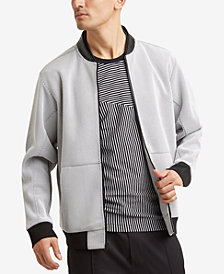 Kenneth Cole Reaction Men's Mesh Full-Zip Bomber Jacket with Faux-Leather Collar