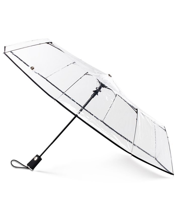 Totes - 3-Section Auto-Open Clear Umbrella
