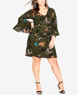 Trendy Plus Size Floral-Print A-Line Dress, Jungle Floral