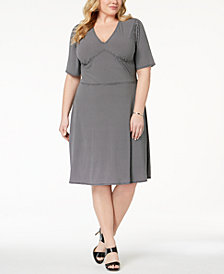 MICHAEL Michael Kors Plus Size Geo-Print Fit & Flare Dress