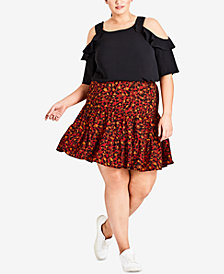City Chic Trendy Plus Size Animal-Print Skirt