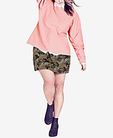 City Chic Trendy Plus Size Puff-Sleeve Sweatshirt