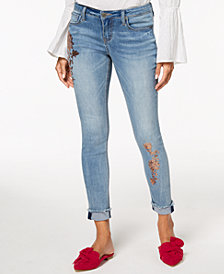 Blue Desire Juniors' Embellished Cuffed Skinny Jeans