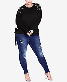 City Chic Trendy Plus Size Grommet-Tie Sweater