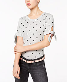 Maison Jules Polka-Dot Tie-Sleeve T-Shirt, Created for Macy's