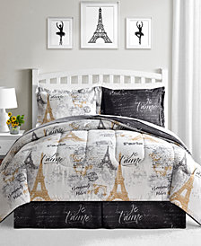 Fairfield Square Collection Paris Gold 8 Pc Reversible Comforter Sets