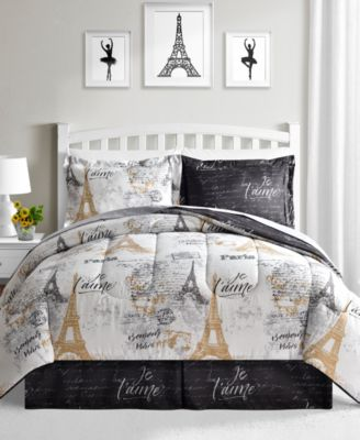Evoke Memories Of Beautiful France With The Paris Gold Reversible Comforter  Set From Fairfield Square Collection, Featuring A Print Containing Images  Of The ...