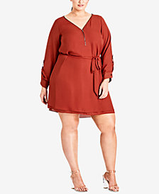 City Chic Trendy Plus Size Zip-Front Tunic Dress