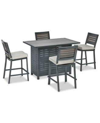 "Marlough II Outdoor Aluminum 5-Pc. Bar Set (52"" x 32"" Bar Table & 5 Bar Stools) with Sunbrella® Cushions, Created for Macy's"