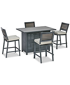 "Marlough II Outdoor Aluminum 5-Pc. Bar Set (52"" x 32"" Bar Table & 5 Bar Stools) with Sunbrella® Cushions, Created for Macy's"
