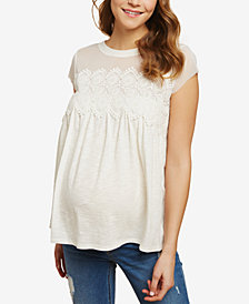 Jessica Simpson Maternity Lace-Trim Linen Top