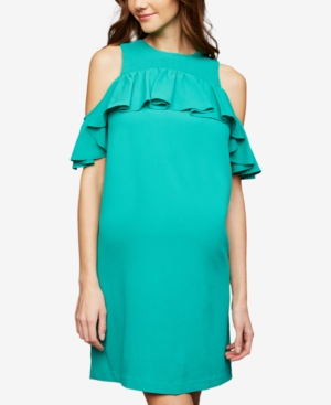 Image of A Pea In The Pod Maternity Cold-Shoulder Dress