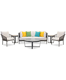 CLOSEOUT! Key Largo Aluminum Outdoor 6-Pc. Seating Set (1 Sofa, 2 Accent Chairs, 1 Coffee Table & 2 End Tables) with Sunbrella® Cushions, Created for Macy's