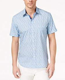 Con.Struct Men's Stretch Fish-Print Shirt, Created for Macy's