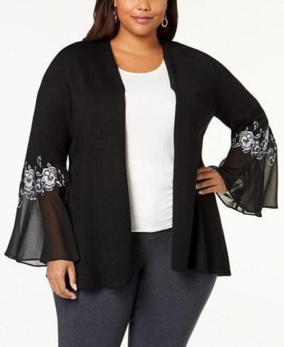 Alfani Plus Size Embroidered Chiffon-Sleeve Cardigan, Created for Macy's