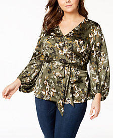 I.N.C. Plus Size Printed Faux-Wrap Top, Created for Macy's