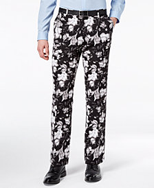 I.N.C. Men's Slim-Fit Ottoman Floral-Print Pants, Created for Macy's