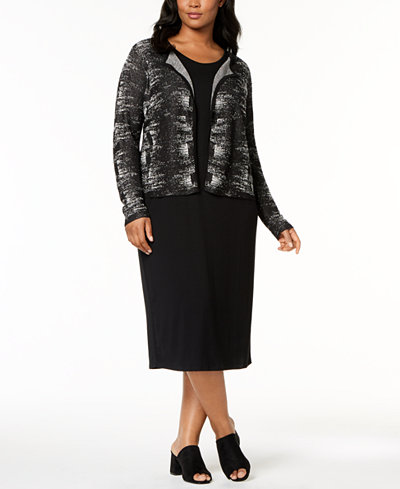 Eileen Fisher Plus Size Printed Cardigan & Midi Dress