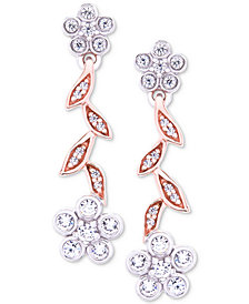 Wrapped in Love™ Diamond Flower Drop Earrings (1/4 ct. t.w.) in 14k Rose & White Gold, Created for Macy's